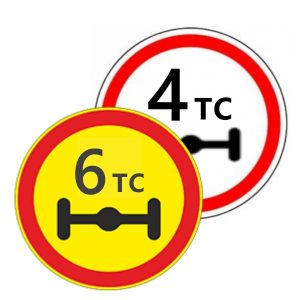 Запрещающие дорожные знаки - 3.12 «ОГРАНИЧЕНИЕ МАССЫ, ПРИХОДЯЩЕЙСЯ НА ОСЬ ТРАНСПОРТНОГО СРЕДСТВА»