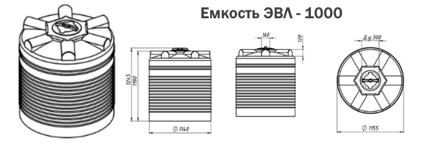 Емкость пластиковая ЭВЛ объемом 1000 литров купить в Минске