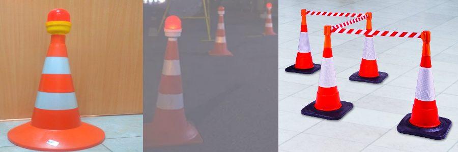 В дорожные конусы возможно установка сигнальных фонарей и креплений для сигнальных лент