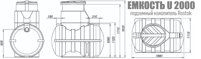 Подземная емкость Росток U2000 размеры. Картинка. Доставка Минск и Беларусь