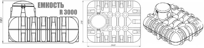 Подземная емкость Росток R3000 размеры. Картинка. Доставка Минск и Беларусь