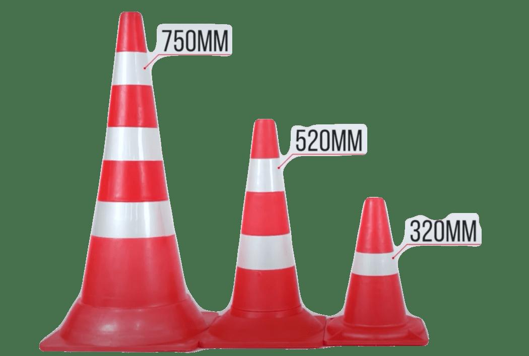 Конусы дорожные с размерами по высоте 320, 520 и 750 мм в Минске