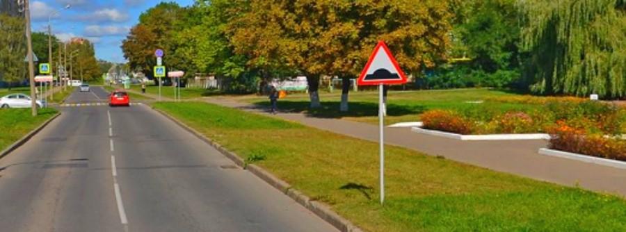 Знак дорожный лежачий полицейский или искуственная неровность 1.16.1 на фото