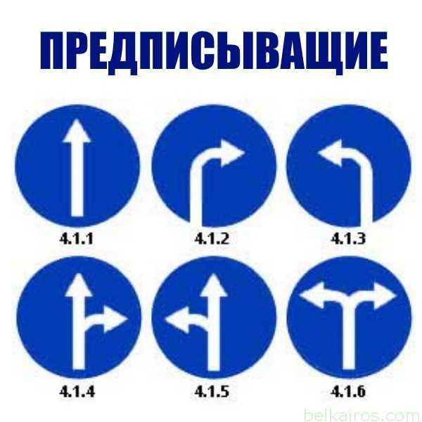 Предписывающие знаки (4.1.1-4.10.2)