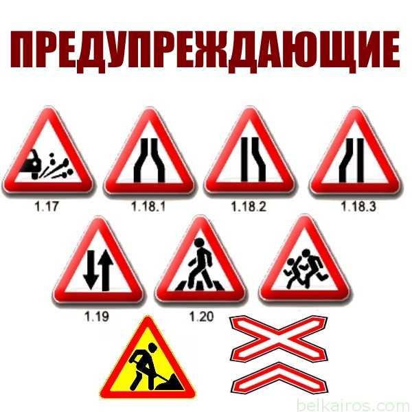 Предупреждающие знаки (1.1-1.35)